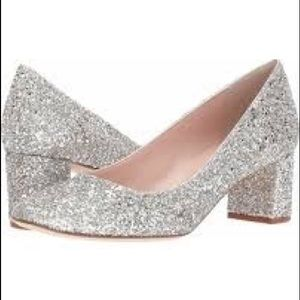 Kate Spade Dolores Silver Gold Glitter Pumps